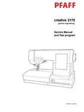 PFAFF Creative 2170 Machine Repair / Service / Test Program Manual PDF Download
