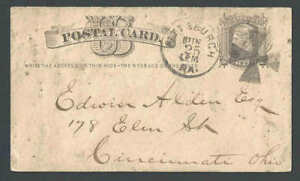 Ca 1878 Pittsburgh Pa UX5 Large Cancel Of Maltese Cross In Black