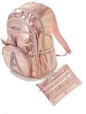 Justice Girls School Backpack w/ Initial Rose Gold Quilted Unicorn & Pencil Case