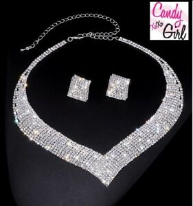 Luxury CZ Crystal Diamante Evening Wedding Necklace And Earrings Jewellery Set