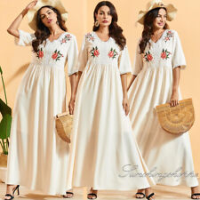 Summer Short Sleeve Casual Dress Ethnic Embroidery Kaftan Abaya Muslim Clothes