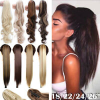 US 100% Natural Clip In As Human Hair Extensions Claw Ponytail Long Pony Tail Jd