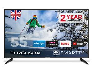 "FERGUSON 55"" 4K ULTRA HD LED SMART TV WITH WIFI 3 x HDMI, USB. MADE IN UK"