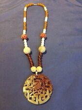 Carved Pendant/Necklace Bead Necklace Vintage Authentic Natural Chinese Jade