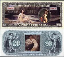 REPUBLIQUE DE NAKEDONIE 20 NUUDINARA BARE NAKED NUDE LADIES FANTASY ART NOTE!