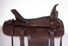 "USED 16"" DARK BROWN HAND CARVED WESTERN LEATHER PLEASURE TRAIL HORSE SADDLE"