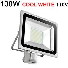 100W Cool White LED Flood Light PIR Motion Sensor Outdoor Security Waterproof