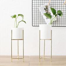 Metal Rack +Ceramic Flower Pot Garden Plant Display Planter Stand Holder