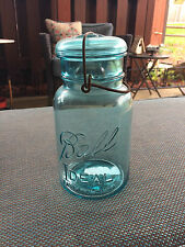 "1 Quart Blue Ideal Pat""D July 14, 1908. #4 Wire Closure With Glass Lid"