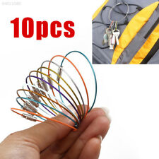 63AA 10pcs Outdoor Hiking Stainless Steel Wire Keychain Key Ring with ScrewLock