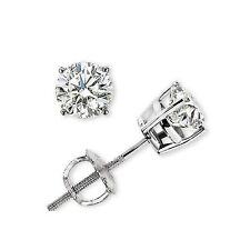 14K White Gold G-VS Genuine Diamond Baby Earrings Stud 0.15 Ct Round Screw Back