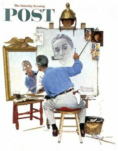 """Norman Rockwell Famous Artwork Cleaning Cloth """"Triple Self Portrait"""""""
