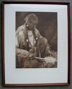 Edward S Curtis Photogravure PEYOTE DRUMMER, Large 1927 Suffolk Engraving Co.