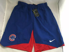 Nike MLB Equipment Mens S L XL Chicago Cubs Dri Fit Blue Logo Basketball Shorts