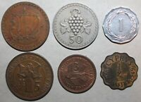 Lot of 6 Cypriot Coins 1949-1963 Cyprus 1/2 Piastre 1 Mil 3 5 50 Mils British