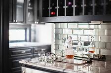 22PCS Silver Bevelled Mirror Wall Tiles Bricks Modern Decor For Kitchen Bathroom