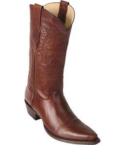 Los Altos Genuine BROWN Premium Leather Snip Toe Cowboy Western Boots EE
