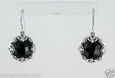 Angels & Emeralds Sterling Silver Baroque drop Earrings with Faceted Onyx