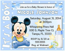 Baby shower mickey mouse greeting cards invitations ebay 20 baby mickey mouse baby shower invitations printed with envelopes filmwisefo Images