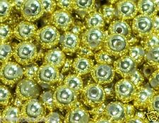 500 Piezas Metálico Abalorios acrílicos, redondo, color oro, 6 mm
