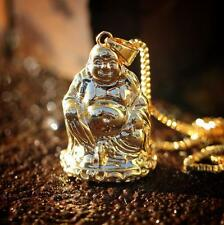 Gold Buddha Pendant With 22 Inch Box Chain Neckalce
