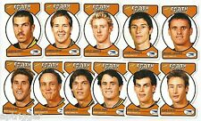 2005 Select Dynasty Footy Faces Die Cuts WEST COAST Team Set