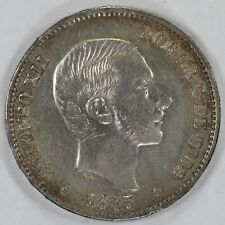 1885 PHILIPPINES 50 CENTIMOS KM# 150 AU ABOUT UNCIRCULATED DETAILS (8415)