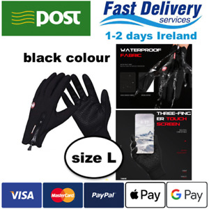 Thermal Cycling Gloves Waterproof Touch Screen Winter Warm BLACK COLOUR SIZE L