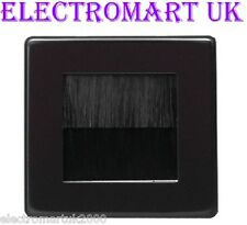BLACK 1 GANG SINGLE CABLE TIDY WALL PLATE FACEPLATE ENTRY EXIT TV BLACK BRUSHES