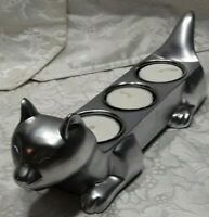 "Sturdy Shiny Gift Idea Metal 10"" Long Cat Lover 3 Votive Candle Holder  Candles"