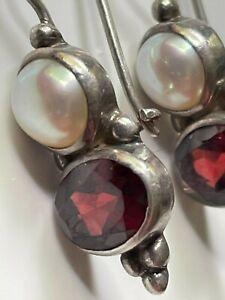 Antique Art Deco 'JGD Dominguez' Mexican sterling silver/pearl/garnet earrings