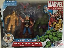 "CLASSIC AVENGERS Thor Iron Man Marvel Unvierse 3 Pack 2010 3.75"" Inch FIGURES"