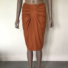 MAURIZIO PECORARO - Pumpkin Wool Blend Pencil Wiggle Skirt Ruched Front UK 8