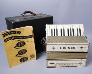 Vintage Early 20C Hohner Working Piano Accordion w Orig Case & Instruction Book