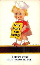 POSTCARD   CHILDREN   HUMORESQUE    Why  don't  you  write  ?  Vera  Patersen