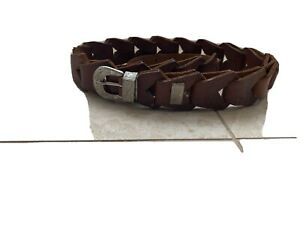 Unusual Vintage Tan Leather And Silver Embossed Belt - Handmade by JR - size M/L