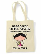 World Best Little Sister 18th Birthday Present Shoulder ToteBag - Gifts For Her