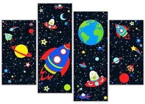 Boys Space Spaceship Rocket Alien Star Galaxy - 4 Panel Canvas Art Print Picture