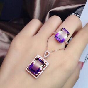 Natural Ametrine Quartz 925 Sliver Sterling Plated Rose Gold Pendant Ring Set