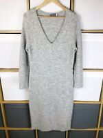Mint Velvet Mid Grey V-Neck Knitted Midi Jumper Dress Size 10 VGC