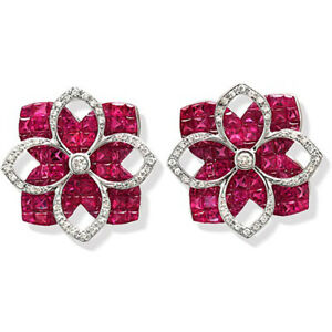 18K White Gold 0.32 CT Diamonds & Invisible 9.86 CT Ruby Earring »E3238