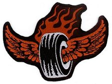 BURNIN' RUBBER tire flames wings EMBROIDERED IRON-ON PATCH *Free Ship cars biker
