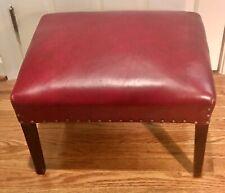 Vintage Leather Footstool Nailhead Trim Burgundy Wood Frame Quality Mid Century