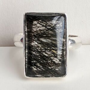 Sterling Silver Ring Tourmalinated Quartz Cabachon 7.9g Size 9.25 Great Stone
