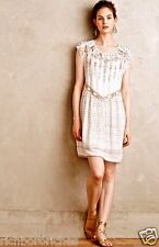 NEW Anthropologie One September white taupe Chiffon Embroidered Swing Dress S