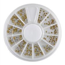 120PCS Mixed Lot Glitter Rhinestones 3D Nail Art Tips Gems DIY Accessories Wheel