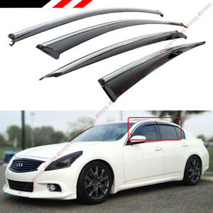CLIP-ON TYPE SMOKE WINDOW VISOR W/ CHROME TRIM FOR 07-15 INFINITI G35 G37 SEDAN