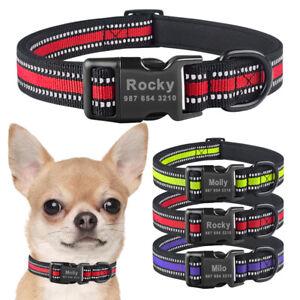 Reflective Nylon Personalized Dog Collar Engraved Pet ID Name Samll Medium Large
