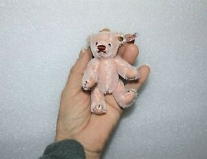 "STEIFF GERMANY BUTTON & TAG Fully Jointed Miniature 4"" PINK PLUSH TEDDY BEAR"