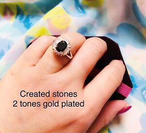 2ct @look oval black sapphire claster ring size K 5.5